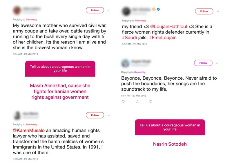 tweets and instagram posts on brave women