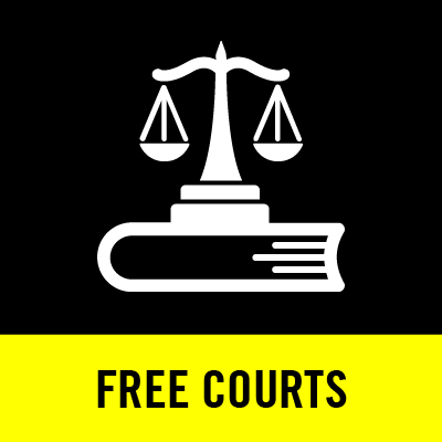 an icon of scales on top of a book with the text Free Courts under neath